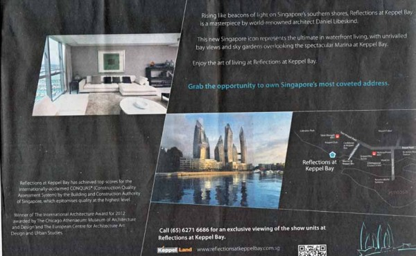 Print ad by Circle One for Reflections@Keppel Bay, Singapore