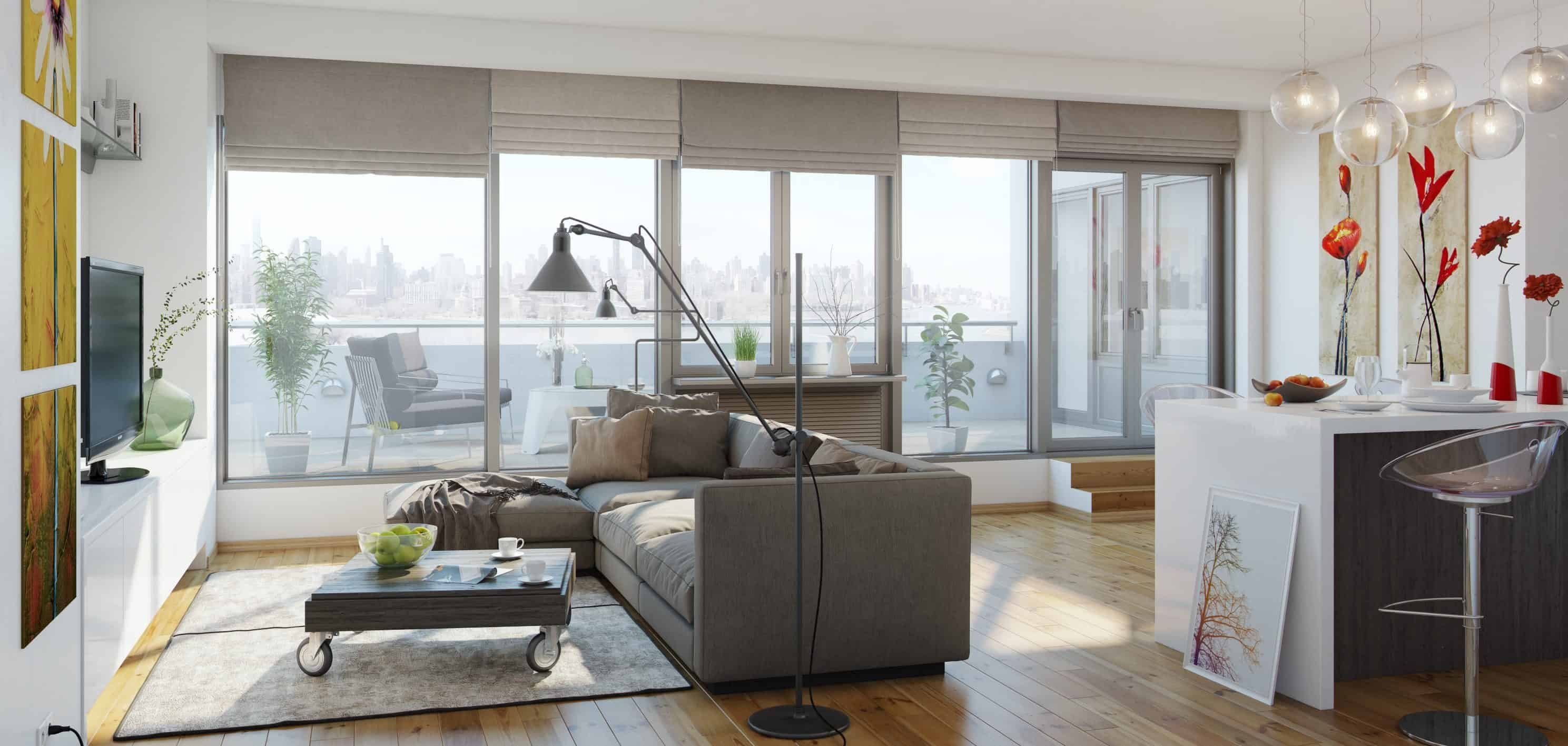 3d render of living room of Vernon Blvd, Astoria, New York. It is an upcoming development by Excel Group.
